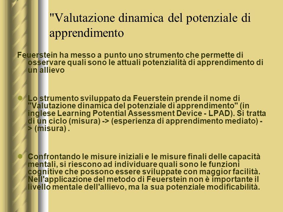 Valutazione dinamica del potenziale di apprendimento Feuerstein ha messo a punto uno strumento che permette di osservare quali sono le attuali potenzialità di apprendimento di un allievo Lo strumento sviluppato da Feuerstein prende il nome di Valutazione dinamica del potenziale di apprendimento (in inglese Learning Potential Assessment Device - LPAD).