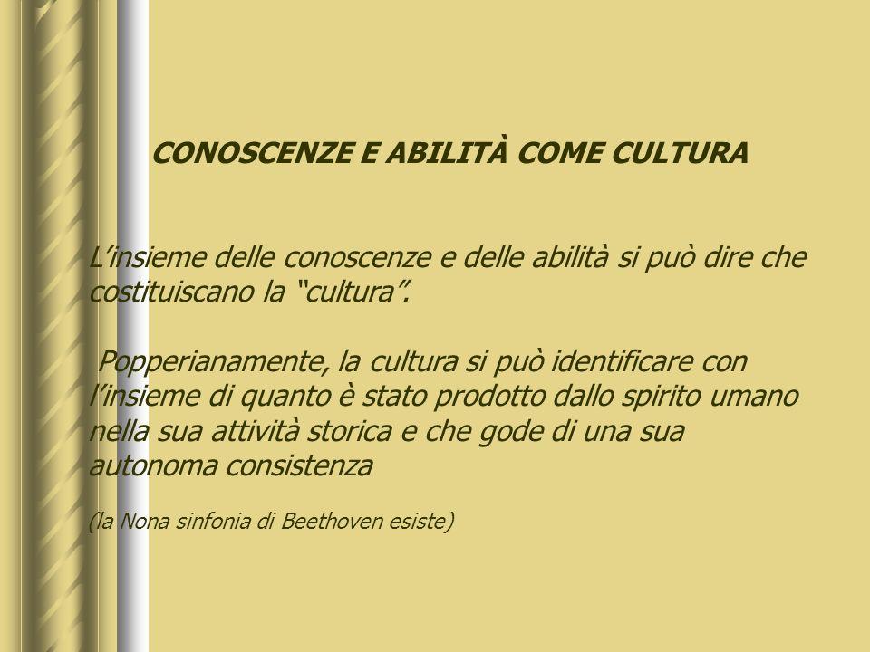 CONOSCENZE E ABILITÀ COME CULTURA Linsieme delle conoscenze e delle abilità si può dire che costituiscano la cultura.