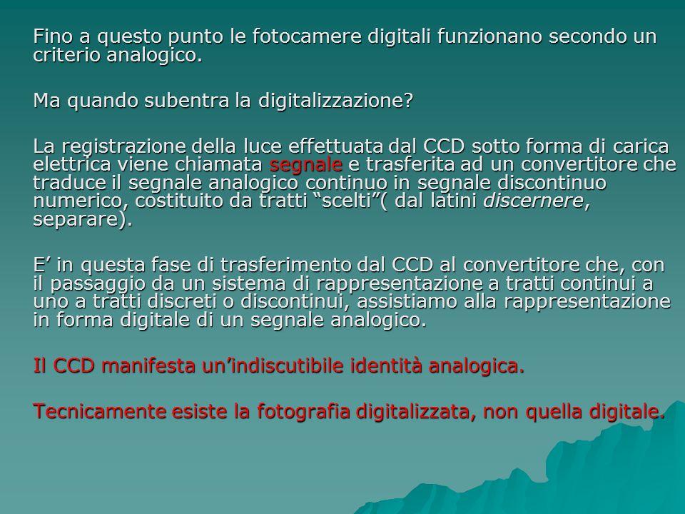 Fino a questo punto le fotocamere digitali funzionano secondo un criterio analogico. Ma quando subentra la digitalizzazione? La registrazione della lu
