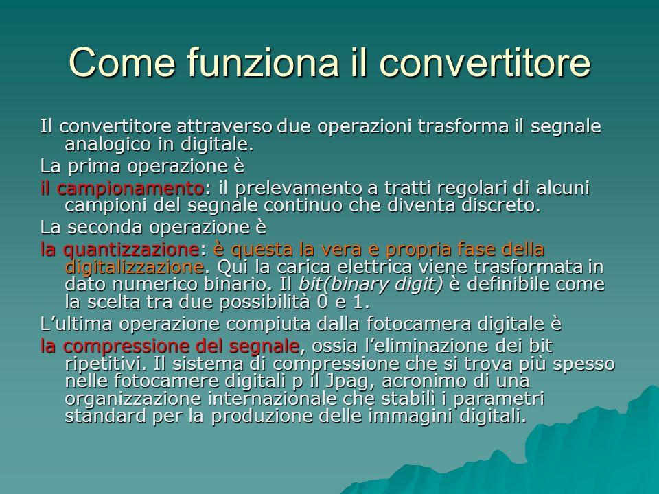 Come funziona il convertitore Il convertitore attraverso due operazioni trasforma il segnale analogico in digitale. La prima operazione è il campionam