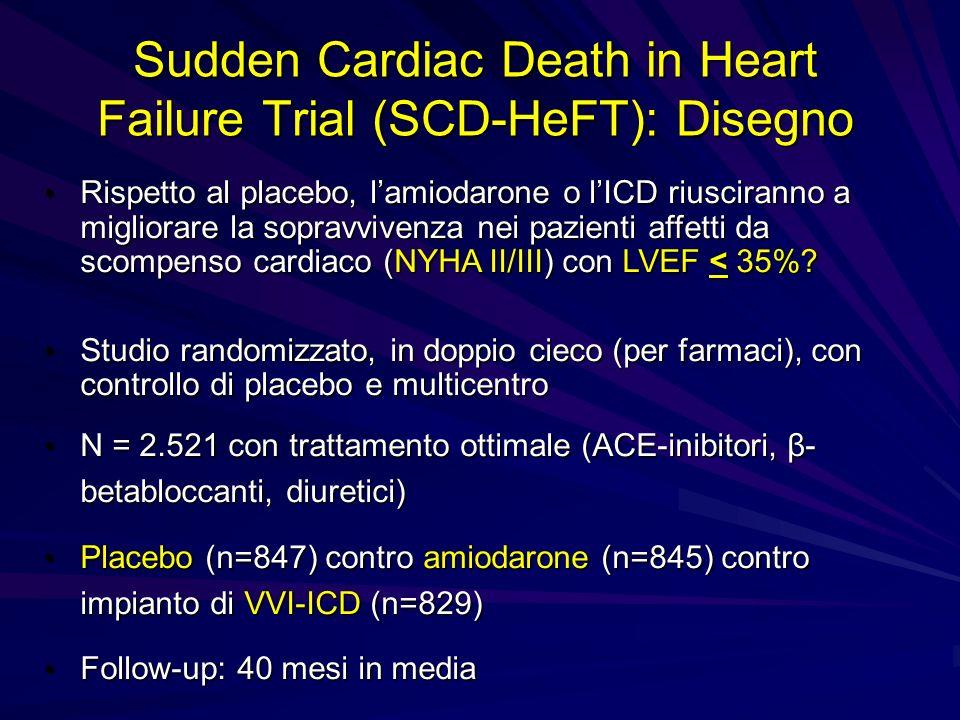 Sudden Cardiac Death in Heart Failure Trial (SCD-HeFT): Disegno Rispetto al placebo, lamiodarone o lICD riusciranno a migliorare la sopravvivenza nei