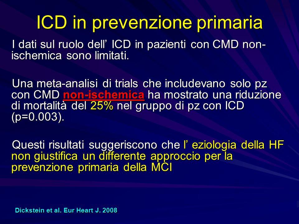 ICD in prevenzione primaria I dati sul ruolo dell ICD in pazienti con CMD non- ischemica sono limitati. Una meta-analisi di trials che includevano sol