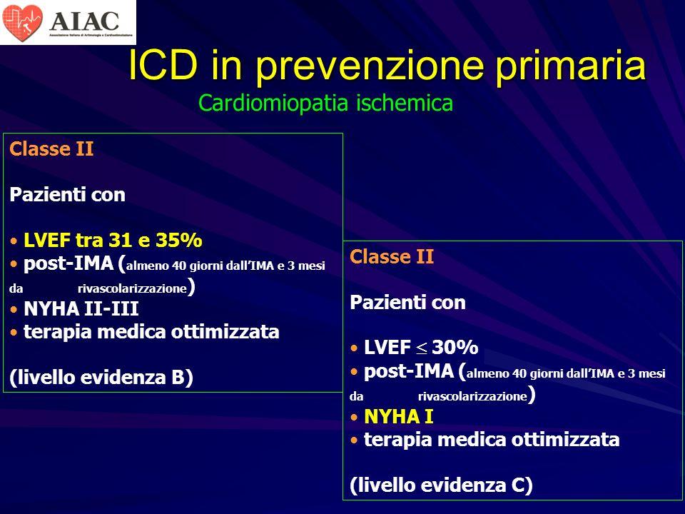 ICD in prevenzione primaria Classe II Pazienti con LVEF tra 31 e 35% post-IMA ( almeno 40 giorni dallIMA e 3 mesi da rivascolarizzazione ) NYHA II-III