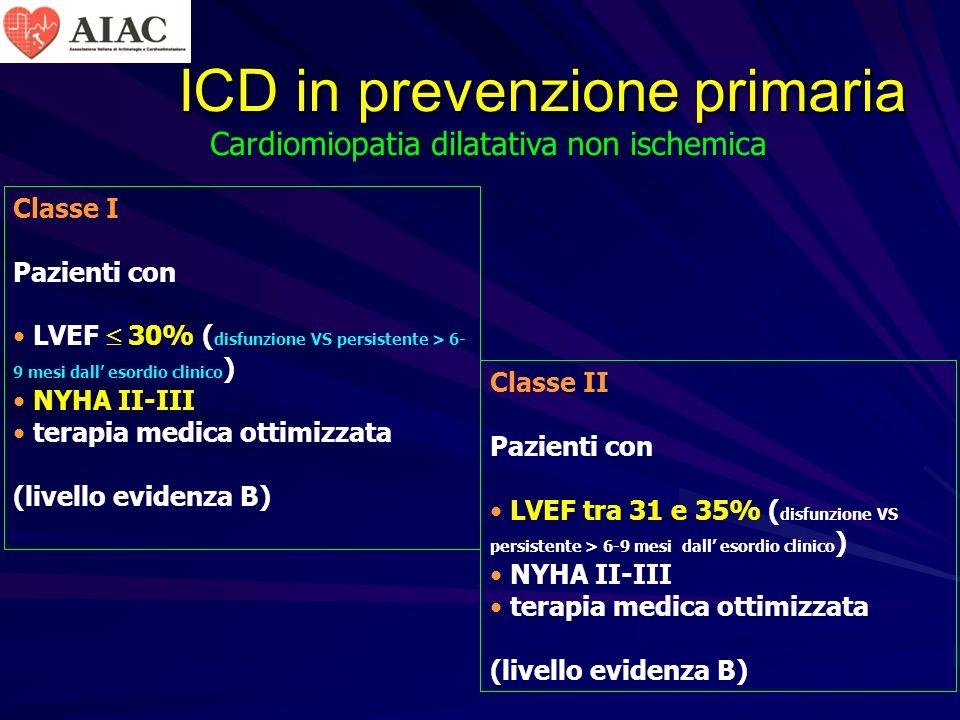 ICD in prevenzione primaria Classe I Pazienti con LVEF 30% ( disfunzione VS persistente > 6- 9 mesi dall esordio clinico ) NYHA II-III terapia medica