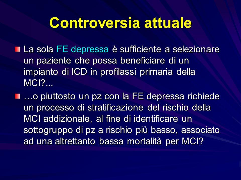 Controversia attuale La sola FE depressa è sufficiente a selezionare un paziente che possa beneficiare di un impianto di ICD in profilassi primaria de