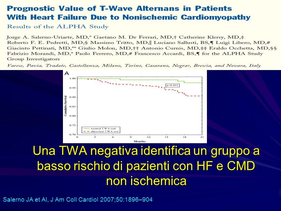 Una TWA negativa identifica un gruppo a basso rischio di pazienti con HF e CMD non ischemica Salerno JA et Al, J Am Coll Cardiol 2007;50:1896–904