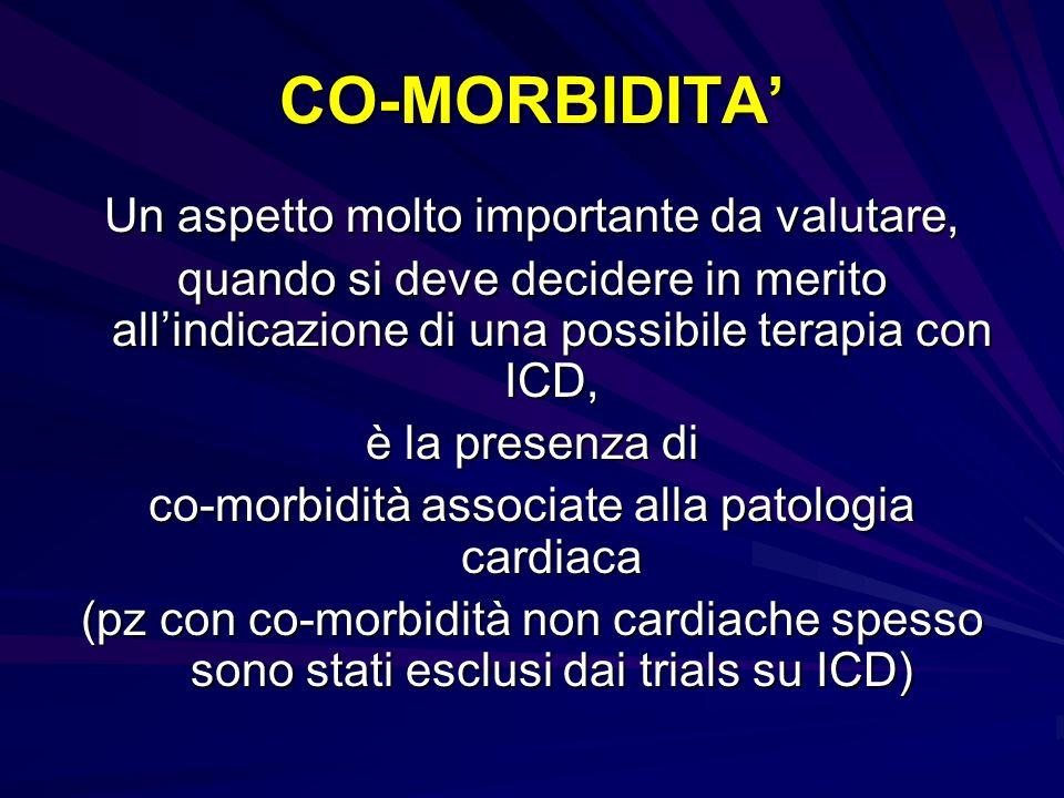 CO-MORBIDITA Un aspetto molto importante da valutare, quando si deve decidere in merito allindicazione di una possibile terapia con ICD, è la presenza