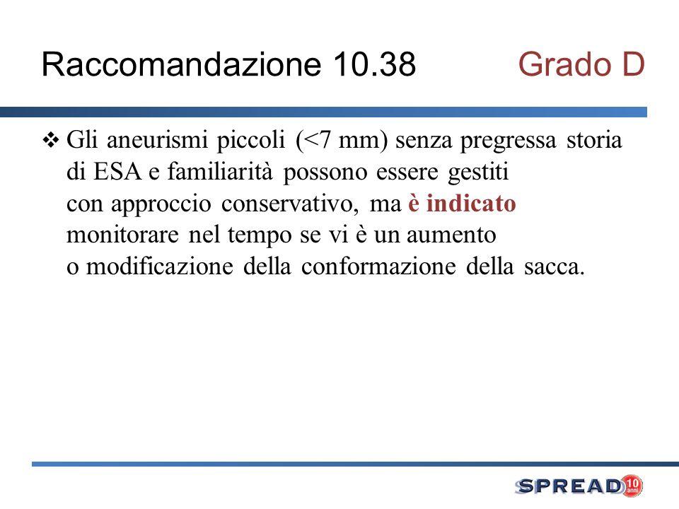 Raccomandazione 10.38Grado D Gli aneurismi piccoli (<7 mm) senza pregressa storia di ESA e familiarità possono essere gestiti con approccio conservati