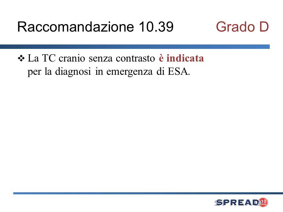 Raccomandazione 10.39Grado D La TC cranio senza contrasto è indicata per la diagnosi in emergenza di ESA.