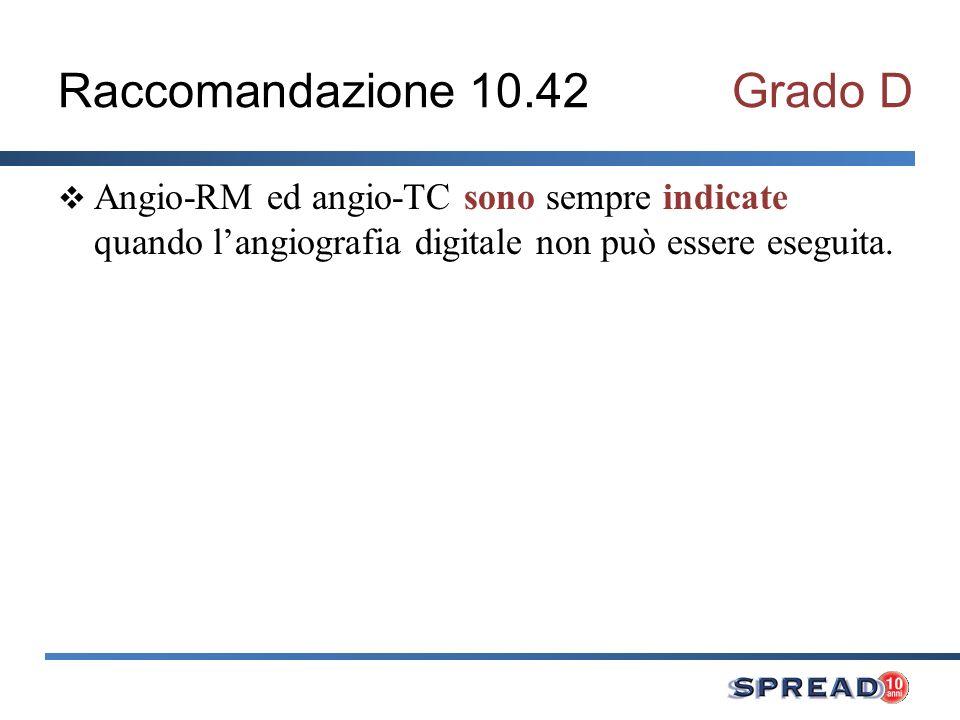 Raccomandazione 10.42Grado D Angio-RM ed angio-TC sono sempre indicate quando langiografia digitale non può essere eseguita.