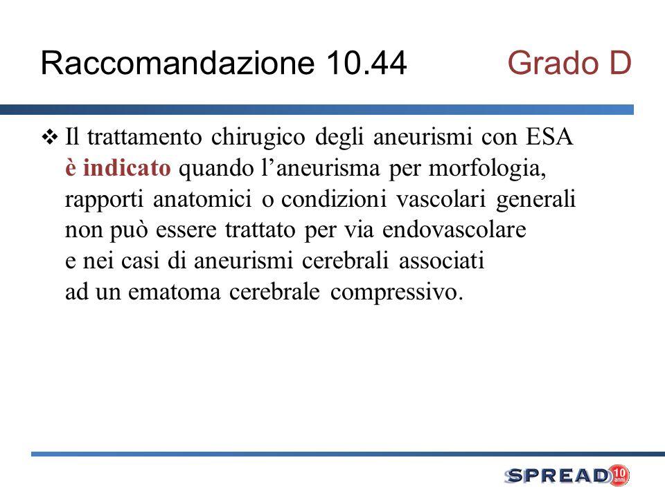 Raccomandazione 10.44Grado D Il trattamento chirugico degli aneurismi con ESA è indicato quando laneurisma per morfologia, rapporti anatomici o condiz