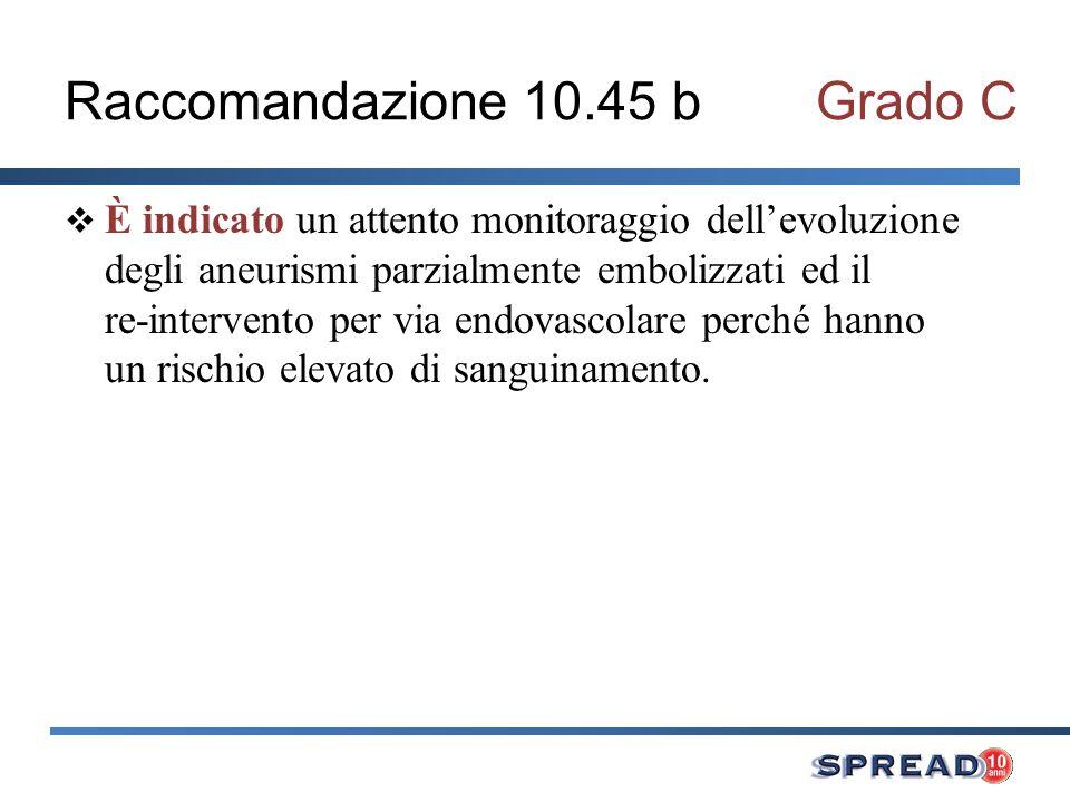 Raccomandazione 10.45 bGrado C È indicato un attento monitoraggio dellevoluzione degli aneurismi parzialmente embolizzati ed il re-intervento per via