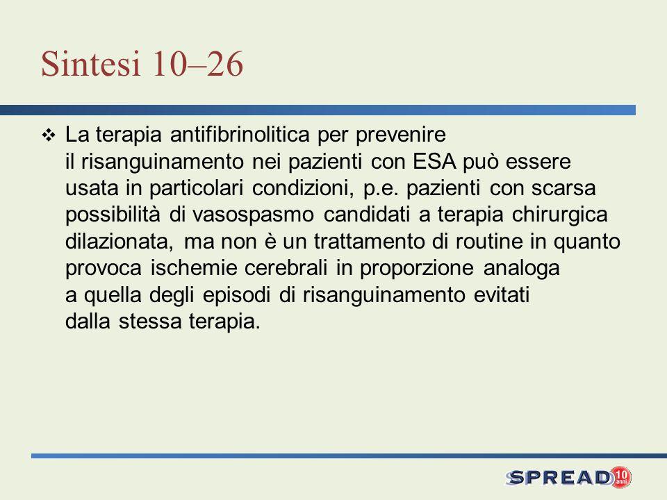 Sintesi 10–26 La terapia antifibrinolitica per prevenire il risanguinamento nei pazienti con ESA può essere usata in particolari condizioni, p.e. pazi