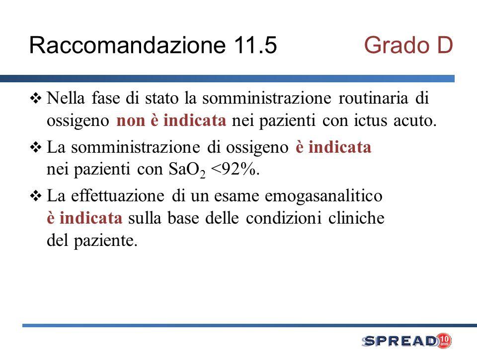 Raccomandazione 11.5Grado D Nella fase di stato la somministrazione routinaria di ossigeno non è indicata nei pazienti con ictus acuto. La somministra
