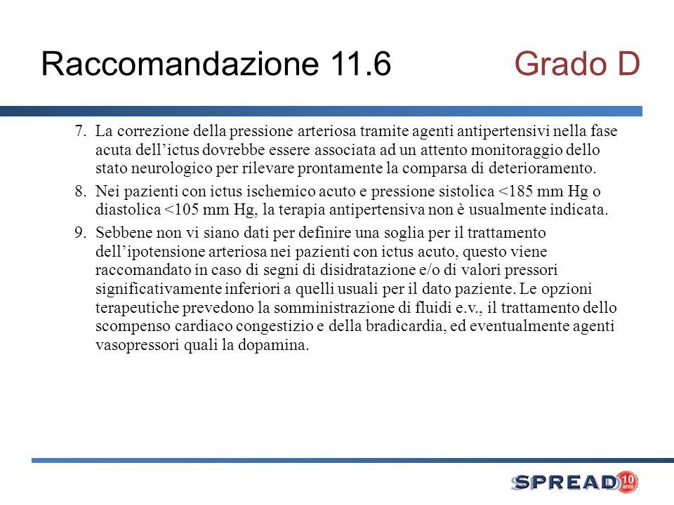 Raccomandazione 11.6Grado D 7.La correzione della pressione arteriosa tramite agenti antipertensivi nella fase acuta dellictus dovrebbe essere associa