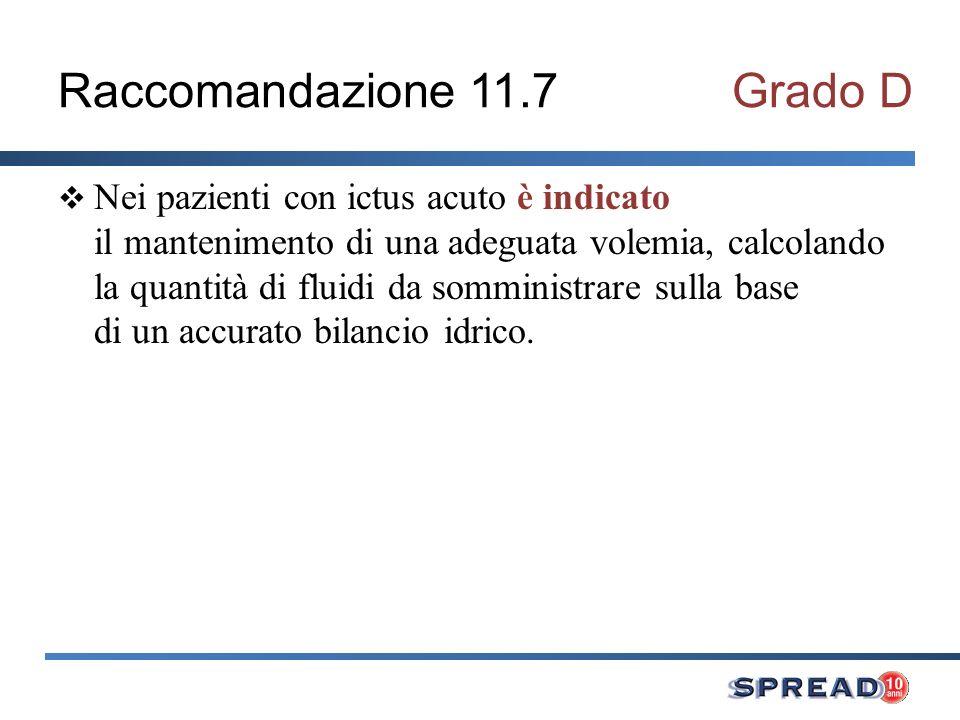 Raccomandazione 11.7Grado D Nei pazienti con ictus acuto è indicato il mantenimento di una adeguata volemia, calcolando la quantità di fluidi da sommi