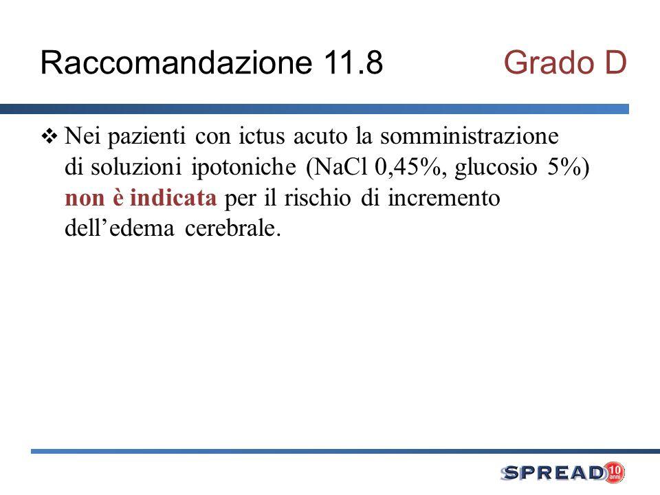 Raccomandazione 11.8Grado D Nei pazienti con ictus acuto la somministrazione di soluzioni ipotoniche (NaCl 0,45%, glucosio 5%) non è indicata per il r