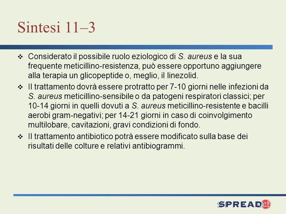 Sintesi 11–3 Considerato il possibile ruolo eziologico di S. aureus e la sua frequente meticillino-resistenza, può essere opportuno aggiungere alla te