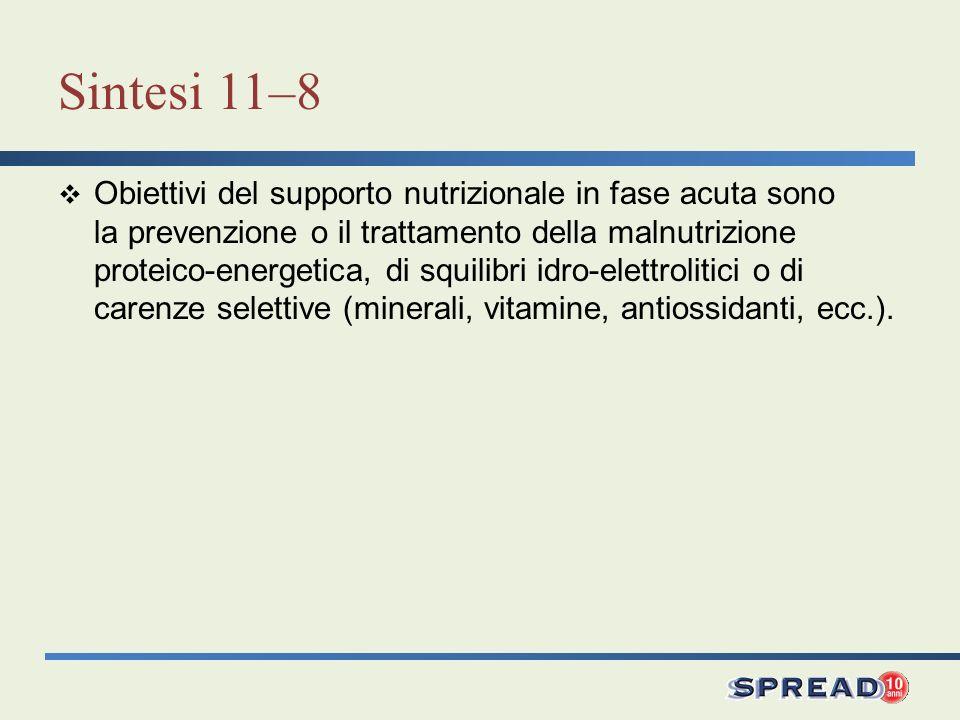 Sintesi 11–8 Obiettivi del supporto nutrizionale in fase acuta sono la prevenzione o il trattamento della malnutrizione proteico-energetica, di squili
