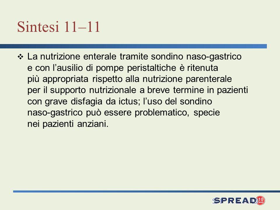 Sintesi 11–11 La nutrizione enterale tramite sondino naso-gastrico e con lausilio di pompe peristaltiche è ritenuta più appropriata rispetto alla nutr