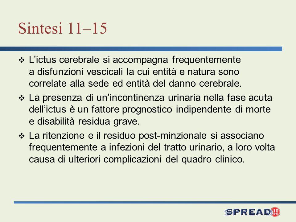 Sintesi 11–15 Lictus cerebrale si accompagna frequentemente a disfunzioni vescicali la cui entità e natura sono correlate alla sede ed entità del dann