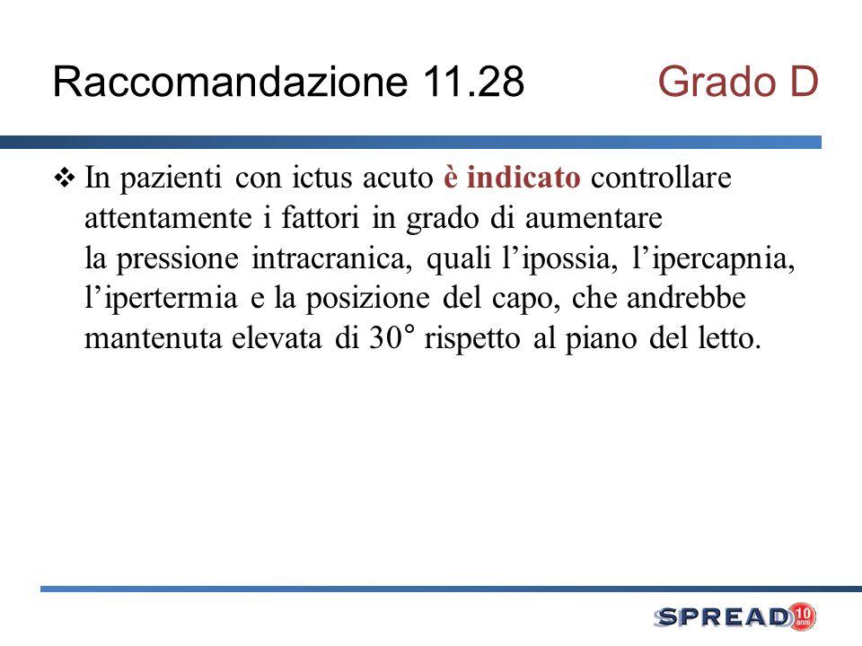 Raccomandazione 11.28Grado D In pazienti con ictus acuto è indicato controllare attentamente i fattori in grado di aumentare la pressione intracranica