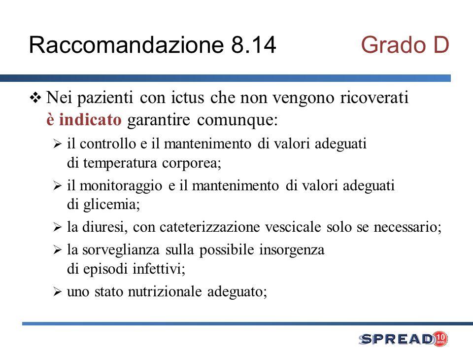 Raccomandazione 8.14Grado D Nei pazienti con ictus che non vengono ricoverati è indicato garantire comunque: il controllo e il mantenimento di valori
