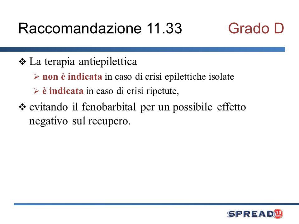 Raccomandazione 11.33Grado D La terapia antiepilettica non è indicata in caso di crisi epilettiche isolate è indicata in caso di crisi ripetute, evita