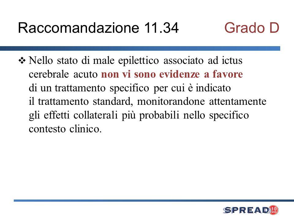 Raccomandazione 11.34Grado D Nello stato di male epilettico associato ad ictus cerebrale acuto non vi sono evidenze a favore di un trattamento specifi