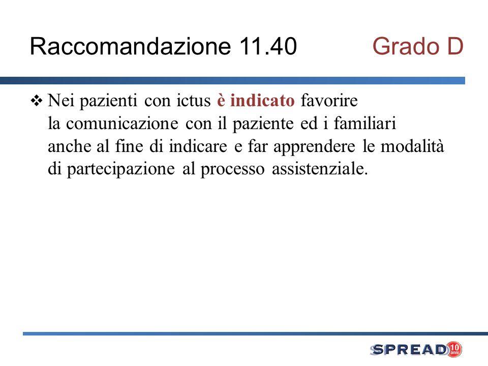 Raccomandazione 11.40Grado D Nei pazienti con ictus è indicato favorire la comunicazione con il paziente ed i familiari anche al fine di indicare e fa