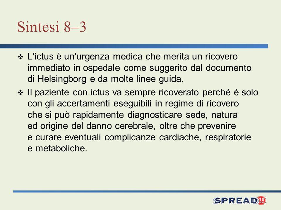 Sintesi 8–3 L'ictus è un'urgenza medica che merita un ricovero immediato in ospedale come suggerito dal documento di Helsingborg e da molte linee guid