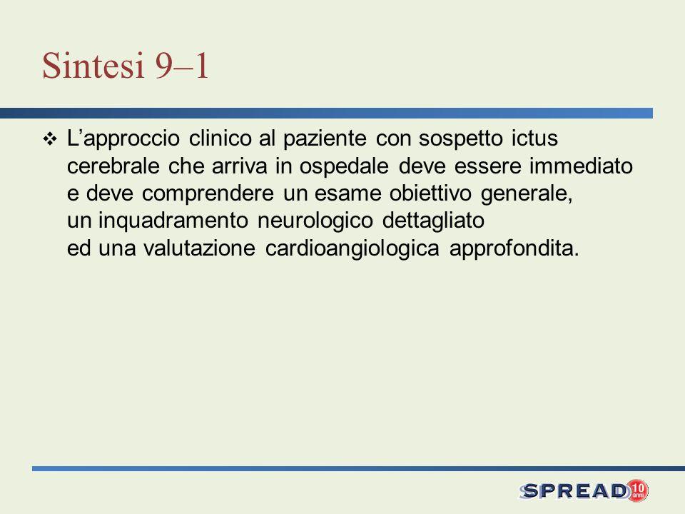 Sintesi 9–1 Lapproccio clinico al paziente con sospetto ictus cerebrale che arriva in ospedale deve essere immediato e deve comprendere un esame obiet