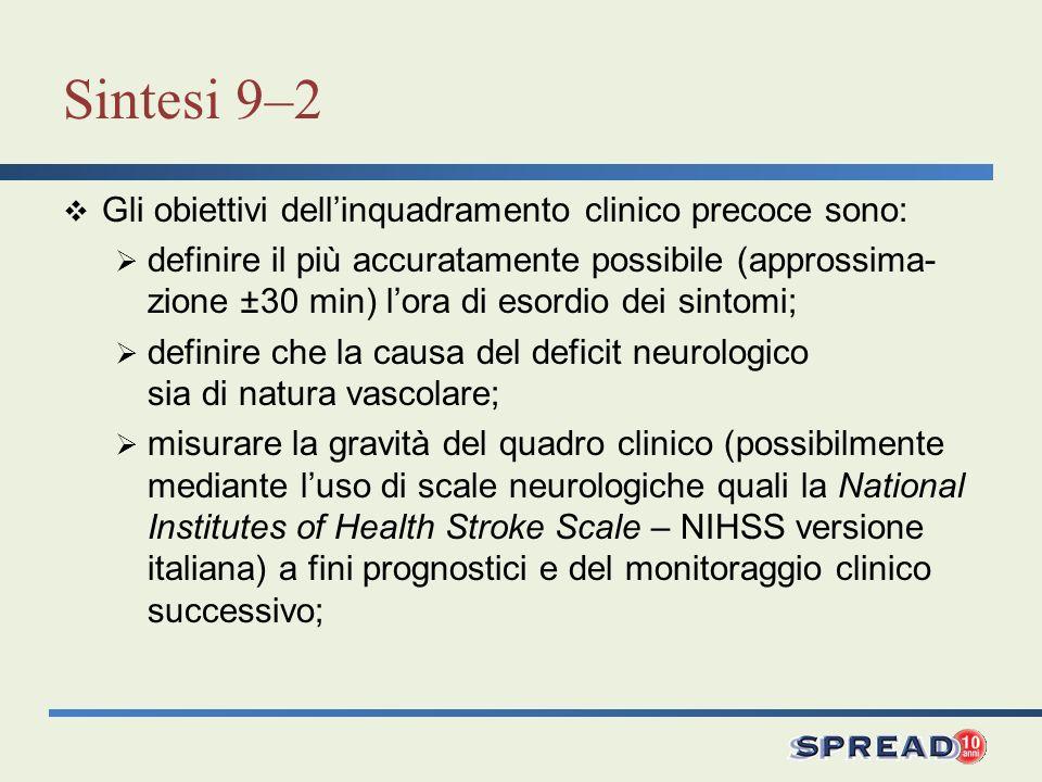 Sintesi 9–2 Gli obiettivi dellinquadramento clinico precoce sono: definire il più accuratamente possibile (approssima- zione ±30 min) lora di esordio
