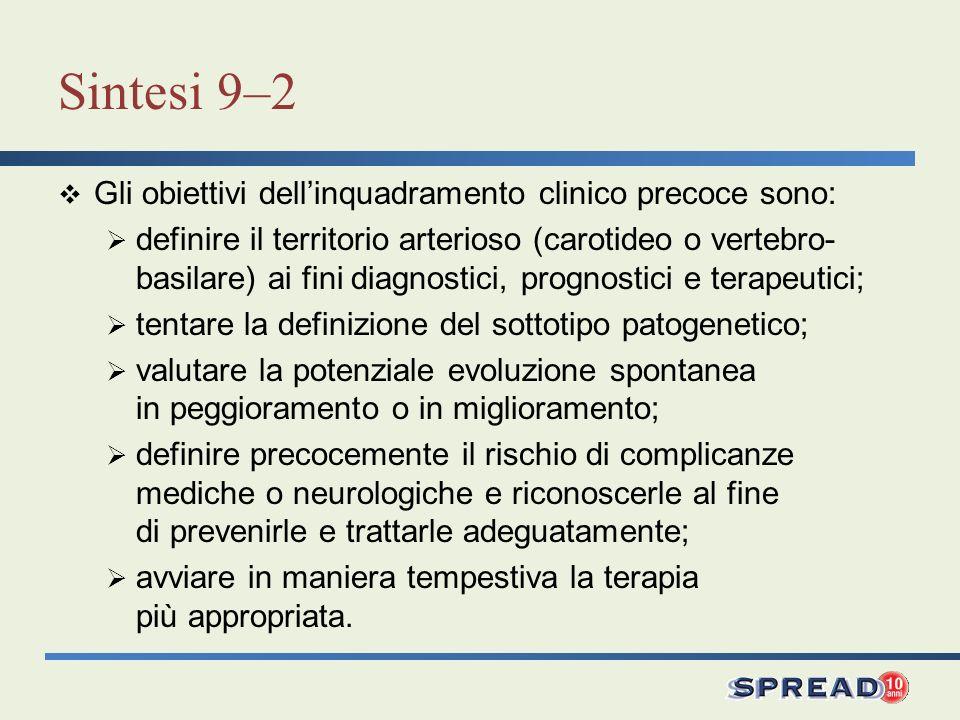 Sintesi 9–2 Gli obiettivi dellinquadramento clinico precoce sono: definire il territorio arterioso (carotideo o vertebro- basilare) ai fini diagnostic