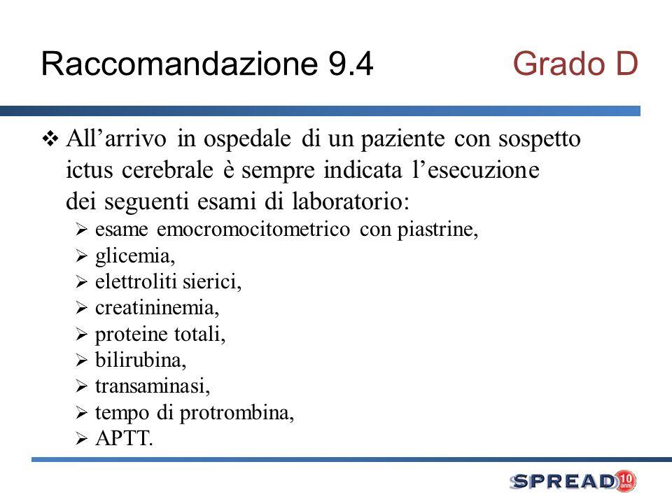 Raccomandazione 9.4Grado D Allarrivo in ospedale di un paziente con sospetto ictus cerebrale è sempre indicata lesecuzione dei seguenti esami di labor