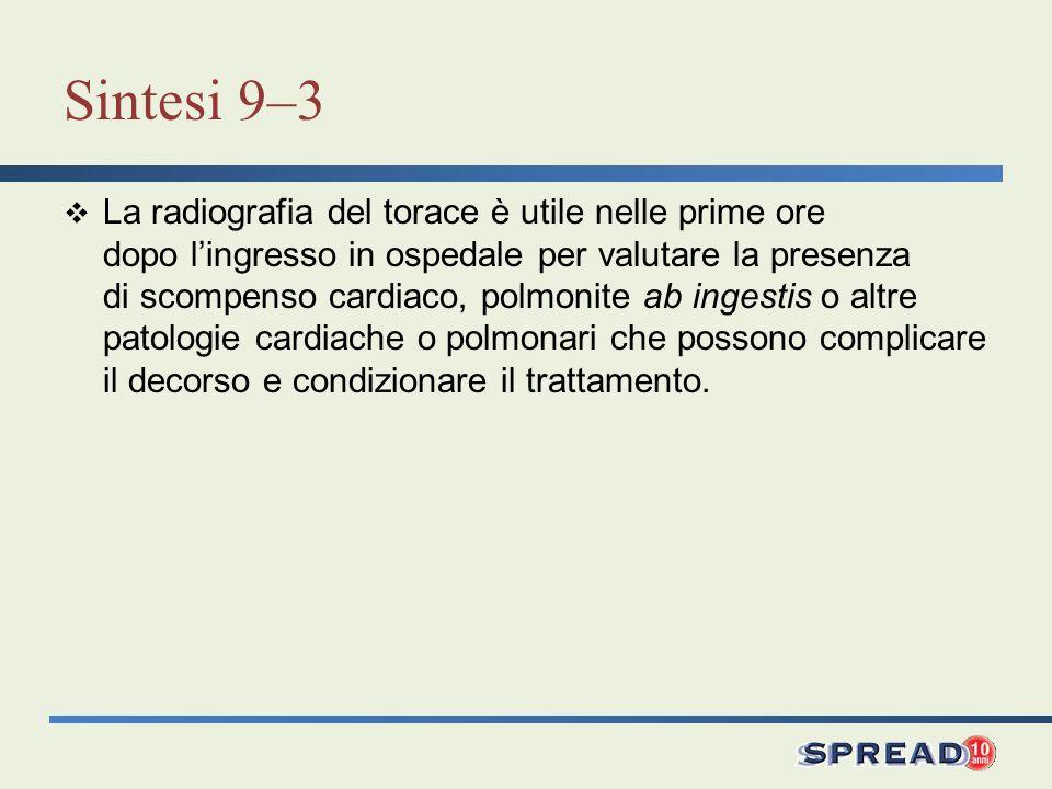 Sintesi 9–3 La radiografia del torace è utile nelle prime ore dopo lingresso in ospedale per valutare la presenza di scompenso cardiaco, polmonite ab