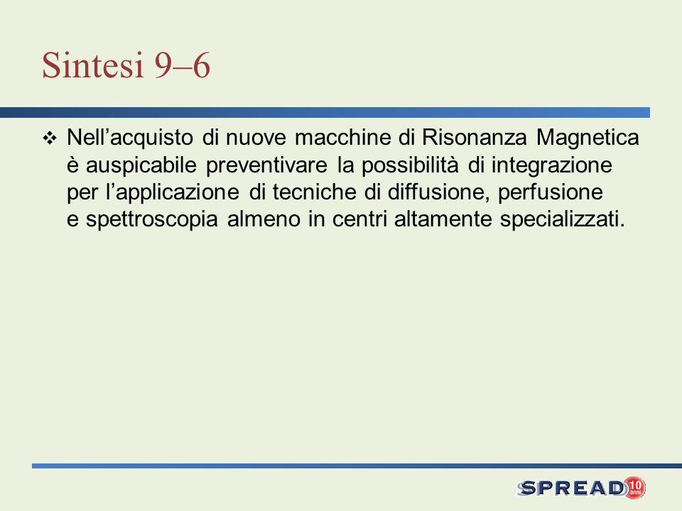 Sintesi 9–6 Nellacquisto di nuove macchine di Risonanza Magnetica è auspicabile preventivare la possibilità di integrazione per lapplicazione di tecni