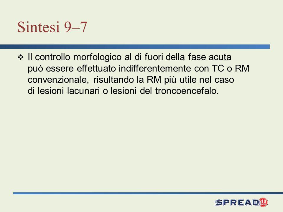 Sintesi 9–7 Il controllo morfologico al di fuori della fase acuta può essere effettuato indifferentemente con TC o RM convenzionale, risultando la RM