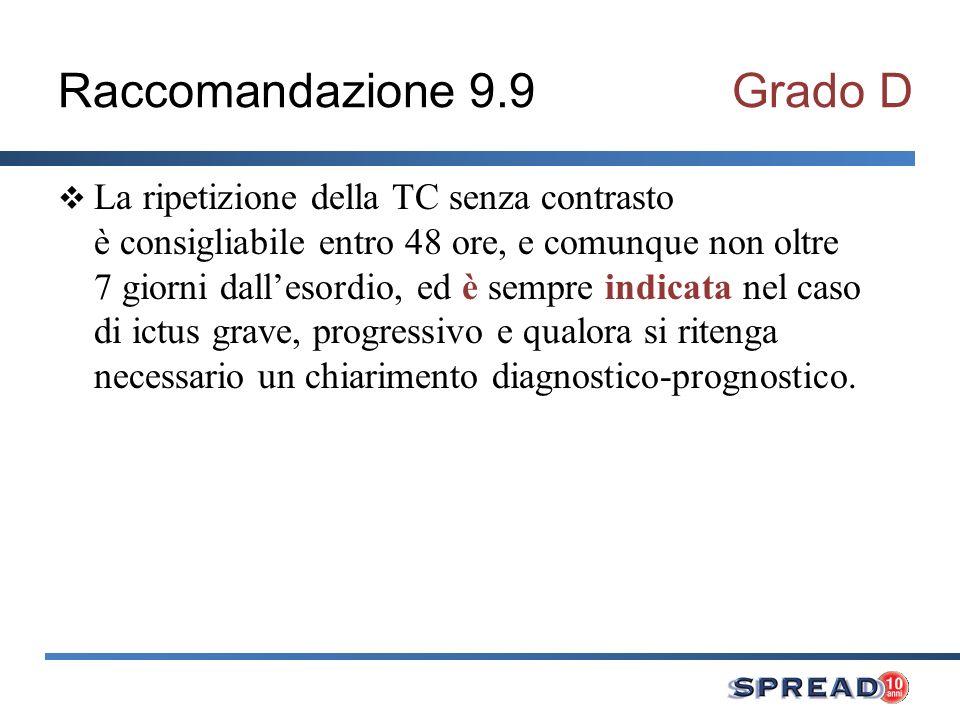Raccomandazione 9.9Grado D La ripetizione della TC senza contrasto è consigliabile entro 48 ore, e comunque non oltre 7 giorni dallesordio, ed è sempr