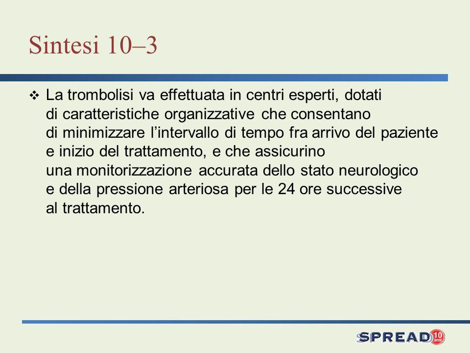 Sintesi 10–3 La trombolisi va effettuata in centri esperti, dotati di caratteristiche organizzative che consentano di minimizzare lintervallo di tempo