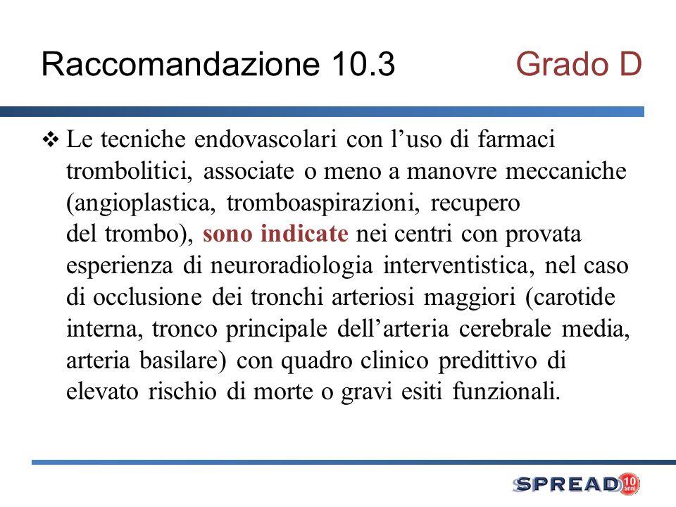 Raccomandazione 10.3Grado D Le tecniche endovascolari con luso di farmaci trombolitici, associate o meno a manovre meccaniche (angioplastica, tromboas