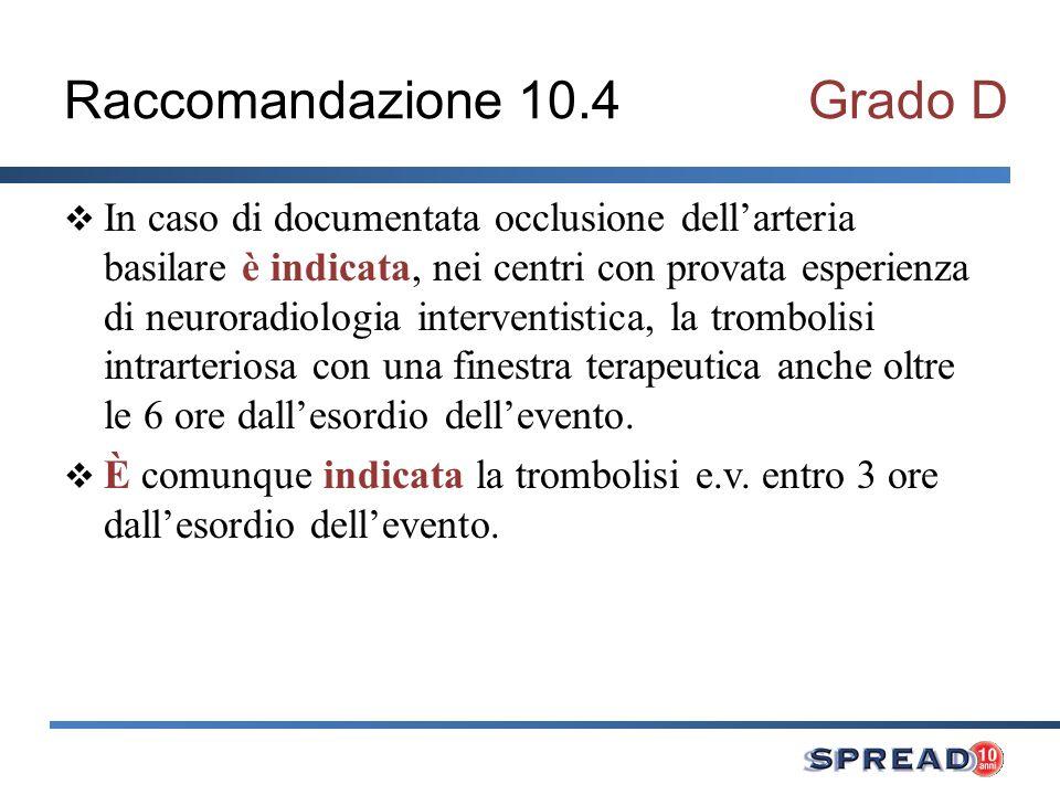 Raccomandazione 10.4Grado D In caso di documentata occlusione dellarteria basilare è indicata, nei centri con provata esperienza di neuroradiologia in