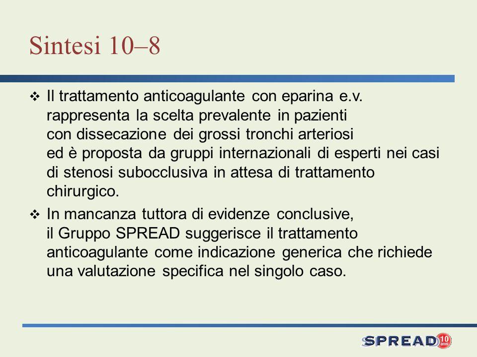 Sintesi 10–8 Il trattamento anticoagulante con eparina e.v. rappresenta la scelta prevalente in pazienti con dissecazione dei grossi tronchi arteriosi