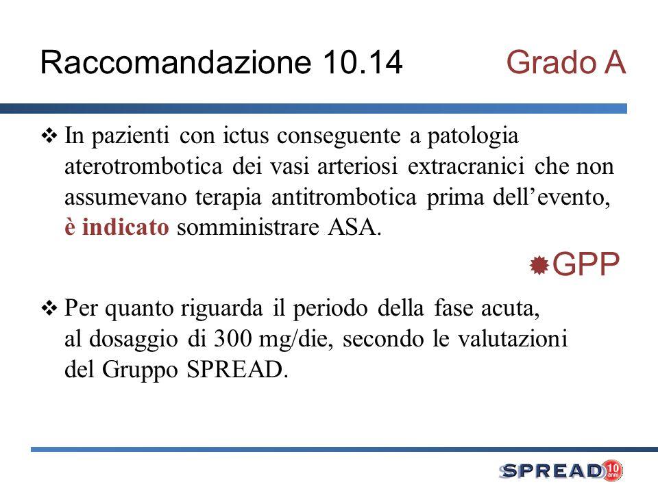 Raccomandazione 10.14Grado A In pazienti con ictus conseguente a patologia aterotrombotica dei vasi arteriosi extracranici che non assumevano terapia