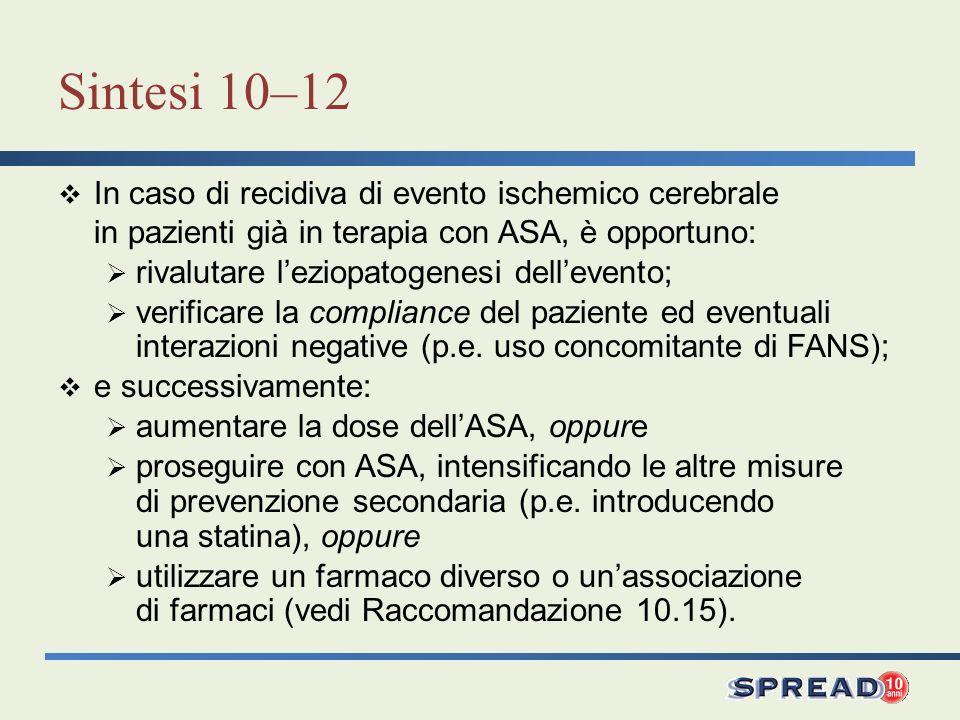 Sintesi 10–12 In caso di recidiva di evento ischemico cerebrale in pazienti già in terapia con ASA, è opportuno: rivalutare leziopatogenesi dellevento