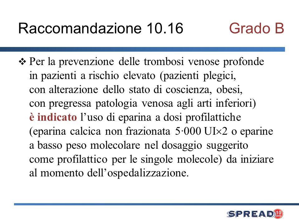 Raccomandazione 10.16Grado B Per la prevenzione delle trombosi venose profonde in pazienti a rischio elevato (pazienti plegici, con alterazione dello