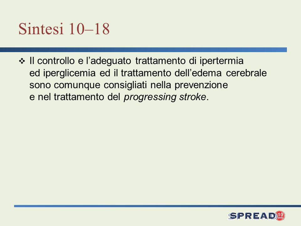 Sintesi 10–18 Il controllo e ladeguato trattamento di ipertermia ed iperglicemia ed il trattamento delledema cerebrale sono comunque consigliati nella