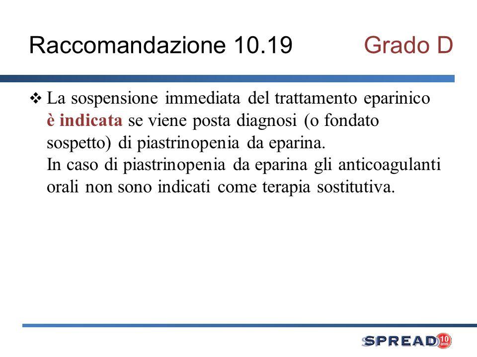 Raccomandazione 10.19Grado D La sospensione immediata del trattamento eparinico è indicata se viene posta diagnosi (o fondato sospetto) di piastrinope