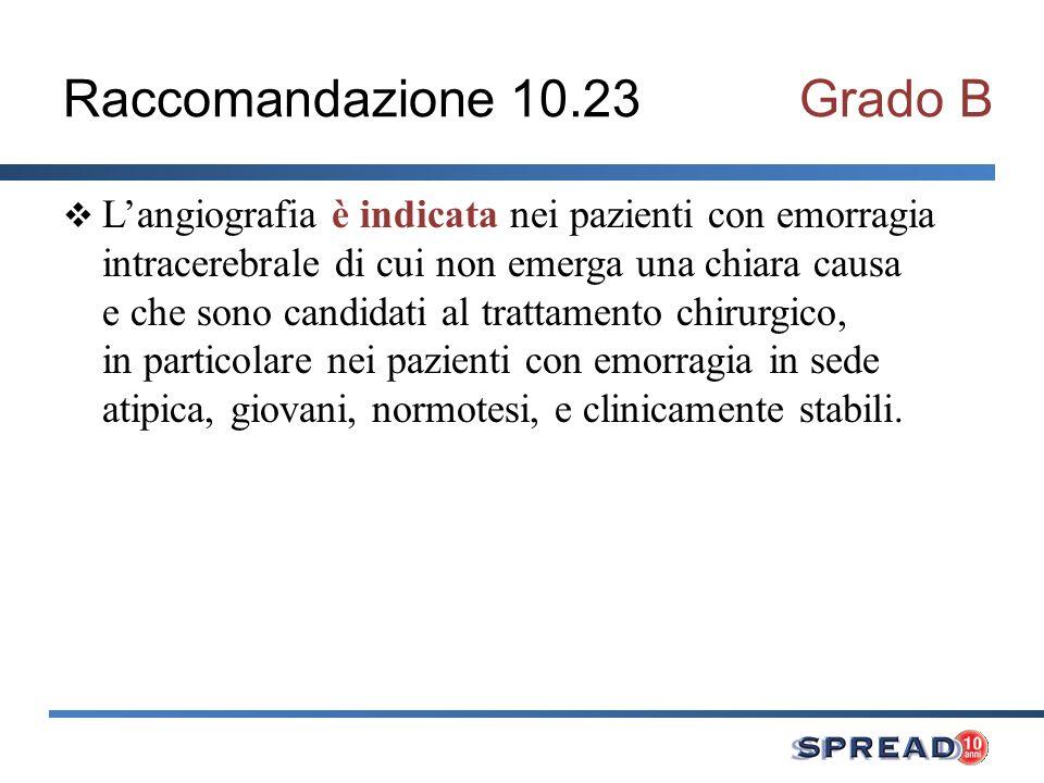 Raccomandazione 10.23Grado B Langiografia è indicata nei pazienti con emorragia intracerebrale di cui non emerga una chiara causa e che sono candidati