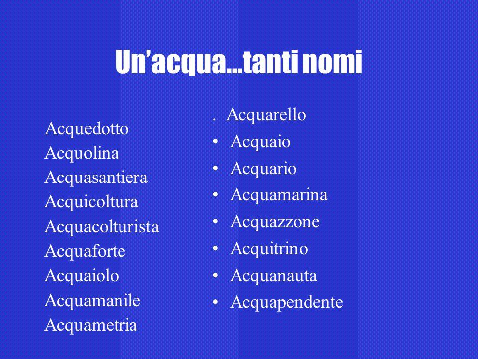 Unacqua…tanti nomi. Acquarello Acquaio Acquario Acquamarina Acquazzone Acquitrino Acquanauta Acquapendente Acquedotto Acquolina Acquasantiera Acquicol
